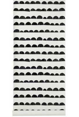 Dekoration - Stickers und Tapeten - Half Moon Tapete / 1 Bahn - B 53 cm - Ferm Living - Weiß / schwarz - Leinen