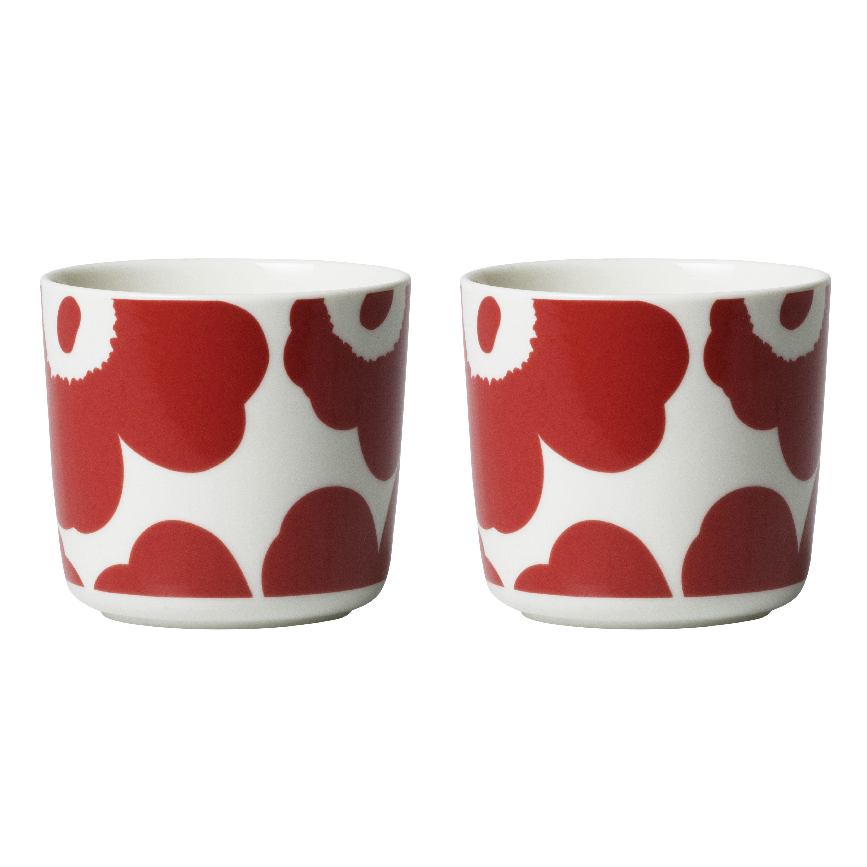 Arts de la table - Tasses et mugs - Tasse à café Unikko / Sans anse - Set de 2 - Marimekko - Unikko / Rouge & blanc - Grès