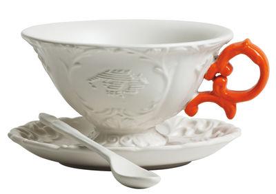 Tasse à thé I-Tea / Set tasse + soucoupe + cuillère - Seletti blanc/orange en céramique