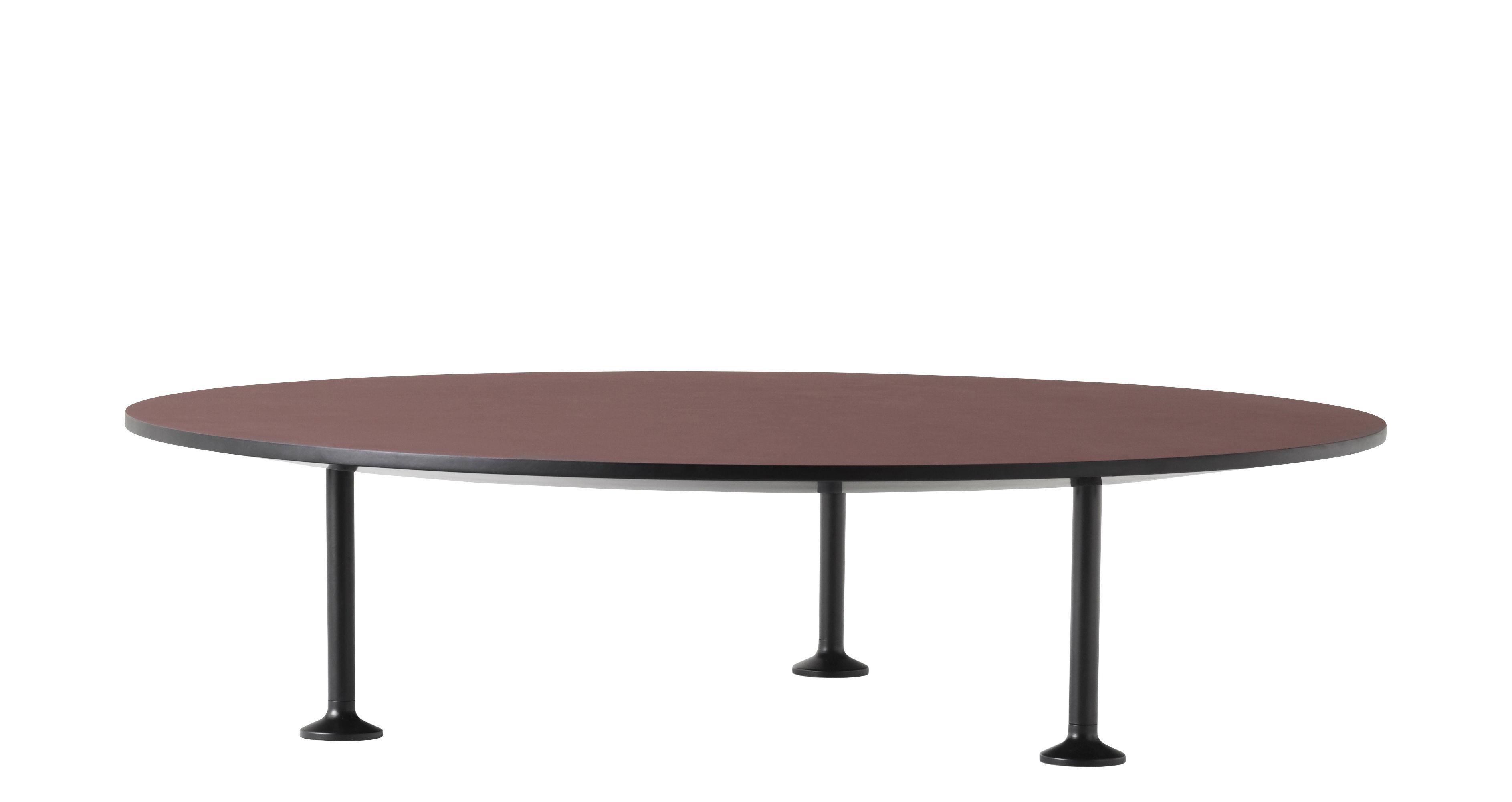 Arredamento - Tavolini  - Tavolino basso Godot / Ø 90 cm - Linoleum - Menu - Bordò / Gambe nere - Acciaio verniciato, Linoleum, MDF