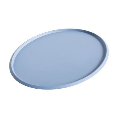 Tableware - Trays - Ellipse XL Tray - / 47 x 37 cm - Metal by Hay - Light blue - Painted steel