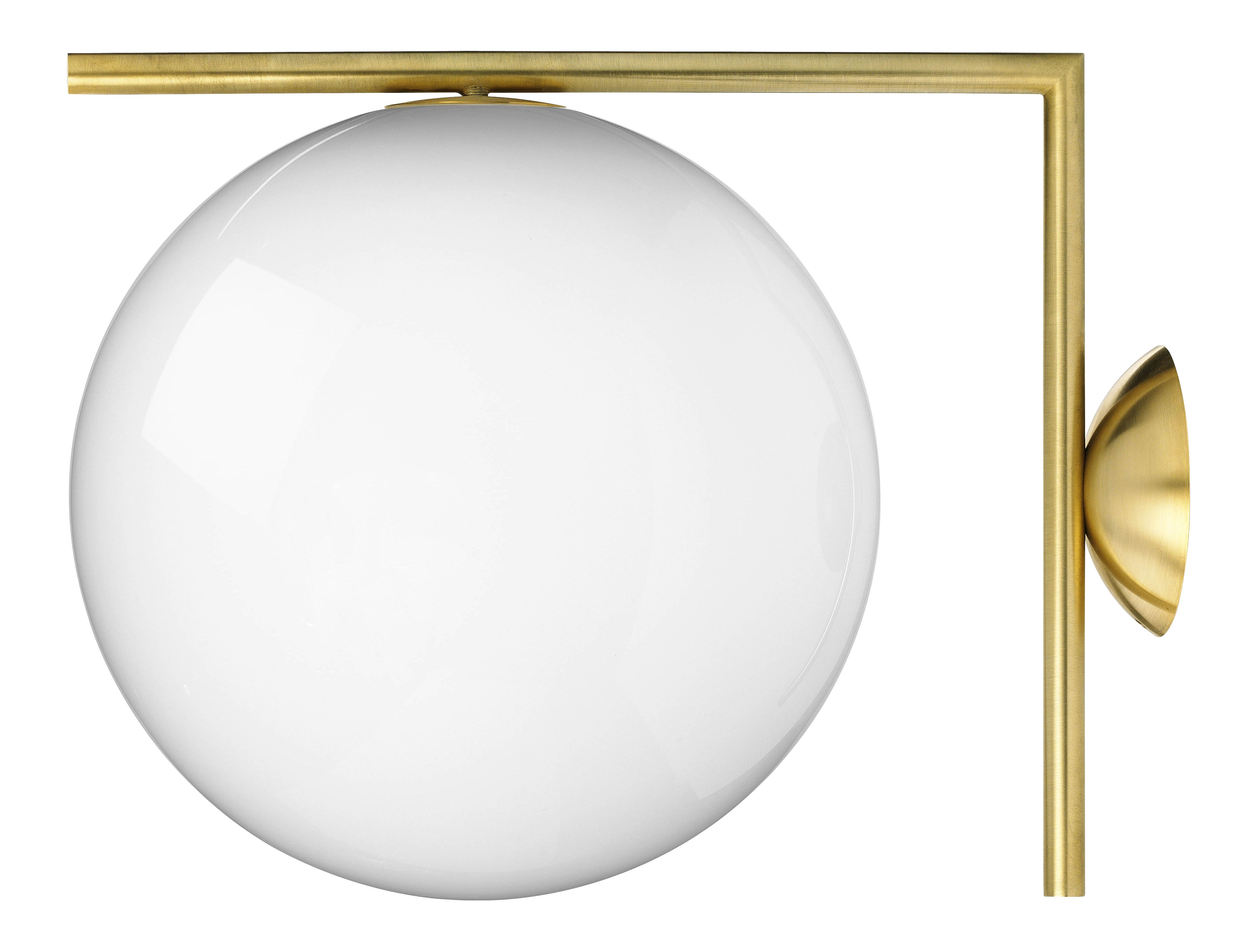 Lighting - Wall Lights - IC W2 Wall light by Flos - Brass - Blown glass, Steel