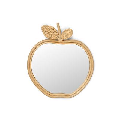 Decoration - Children's Home Accessories - Apple Wall mirror - / Rattan by Ferm Living - Apple / Rattan - Glass, MDF, Rattan