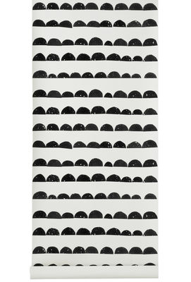 Decoration - Wallpaper & Wall Stickers - Half Moon Wallpaper by Ferm Living - Noir, Blanc - Cloth