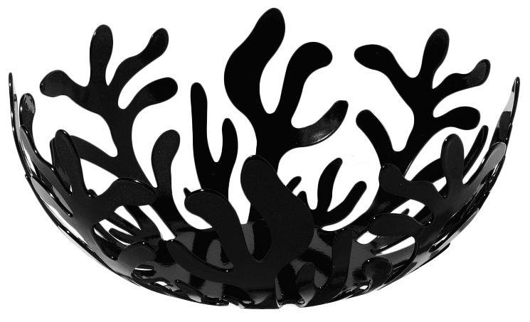 Accessories - Bathroom Accessories - Mediterraneo Basket by Alessi - Black - Ø 21 cm - Stainless steel