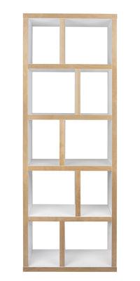 Möbel - Regale und Bücherregale - Rotterdam Bücherregal / L 70 cm x H 198 cm - POP UP HOME - Weiß / Seitenränder: holzfarben - Eichenholzfurnier