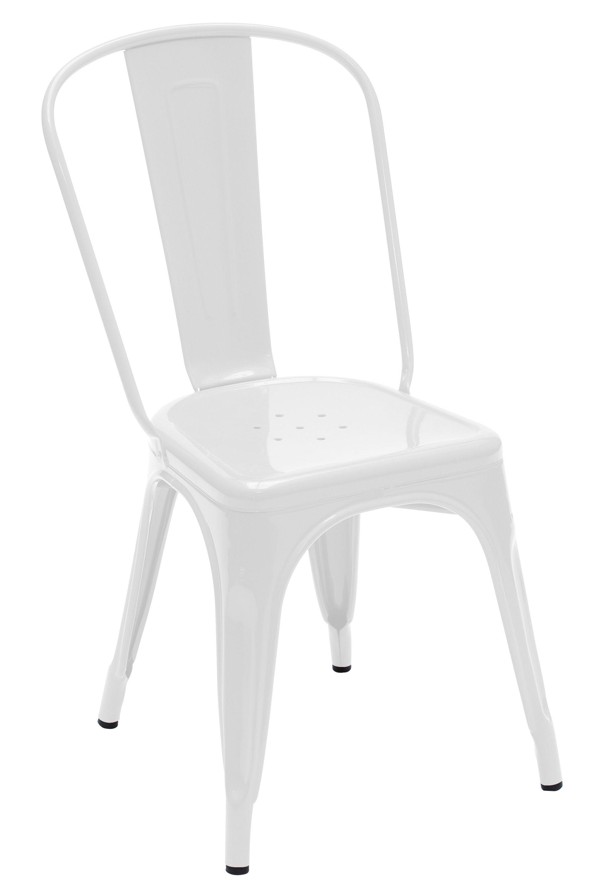 Mobilier - Chaises, fauteuils de salle à manger - Chaise empilable A / Acier - Couleur brillante - Tolix - Blanc (brillant) - Acier laqué