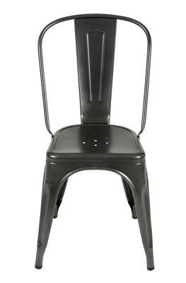 Chaise empilable A / Acier - Couleur mate texturée - Tolix gris martelé mat grainé en métal