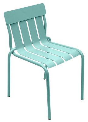 Mobilier - Chaises, fauteuils de salle à manger - Chaise empilable Stripe / Par Matali Crasset - Fermob - Bleu Lagune - Aluminium