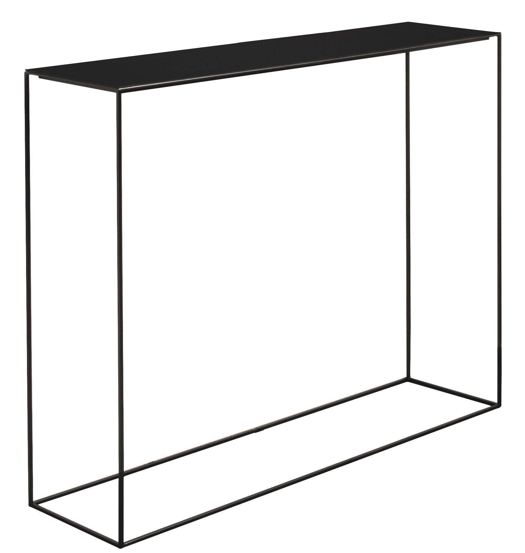 Arredamento - Console - Console Slim Irony / L 124 cm - Zeus - Top nero ramato / Piede nero ramato - Acciaio verniciato