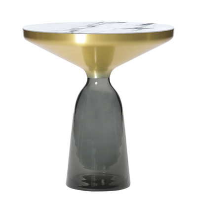 Furniture - Coffee Tables - Bell Side End table - / Ø 50 x H 53 cm - Marble table top by ClassiCon - White marble / Quartz grey / Brass - Blown glass, Marble, Solid brass