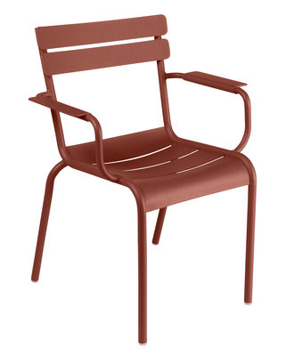 Jardin - Chaises et fauteuils hauts - Fauteuil empilable Luxembourg / Aluminium - Fermob - Ocre rouge - Aluminium laqué