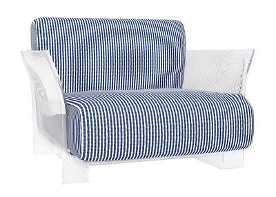 Fauteuil rembourré Pop Outdoor - Kartell blanc,bleu,transparent en matière plastique