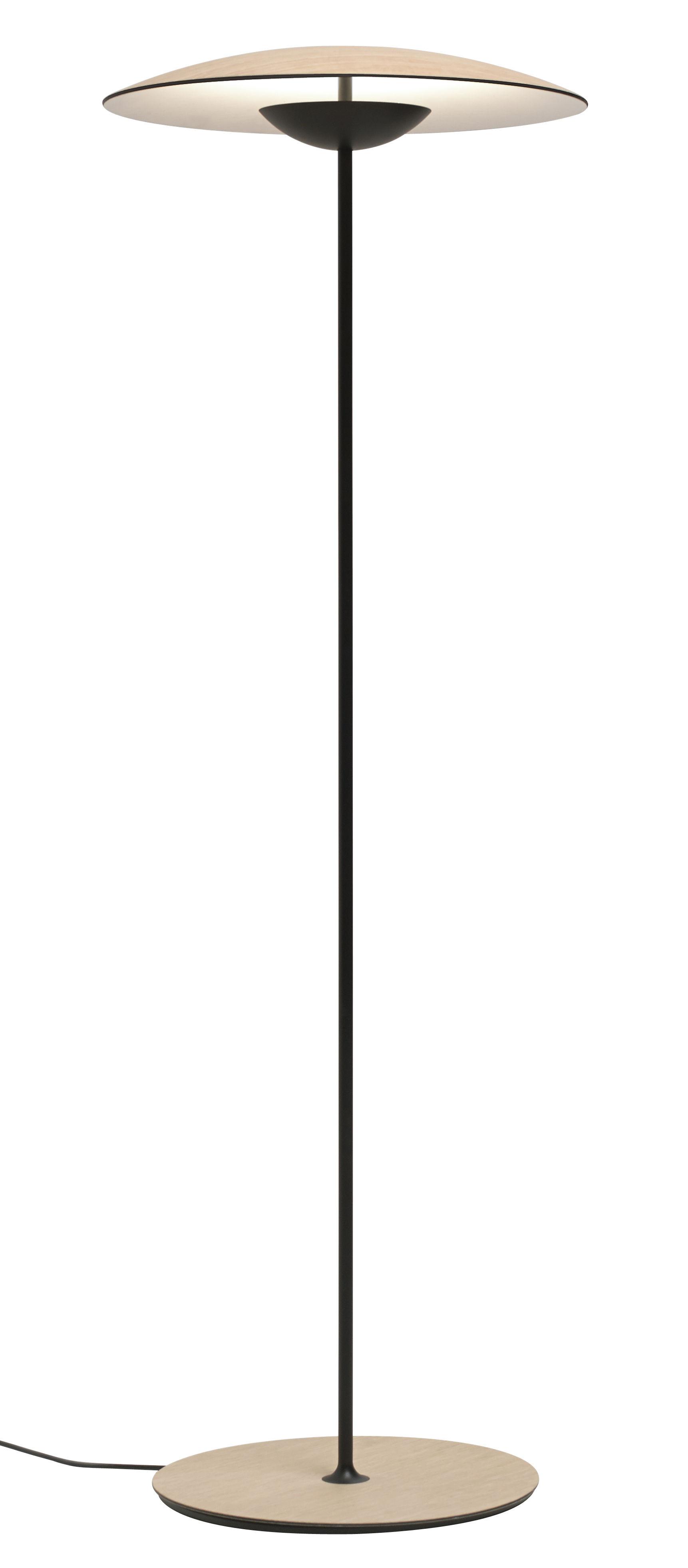 Lighting - Floor lamps - Ginger P Floor lamp by Marset - Oak / Black leg - Lacquered metal, Plywood