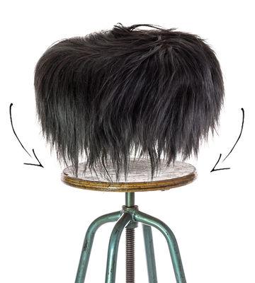 Housse de tabouret Top Moumoute / Peau de mouton véritable - FAB design noir en tissu