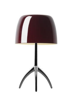 Illuminazione - Lampade da tavolo - Lampada da tavolo Lumière Grande / Variatore - H 35 cm - Foscarini - Ciliegia / Base nero cromato - alluminio verniciato, vetro soffiato