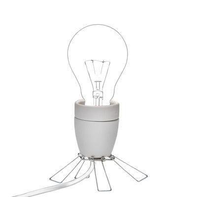 Illuminazione - Lampade da tavolo - Lampada da tavolo Spoutnik - / Piccola di Tsé-Tsé - Bianco / Acciaio - Acciaio, Porcellana