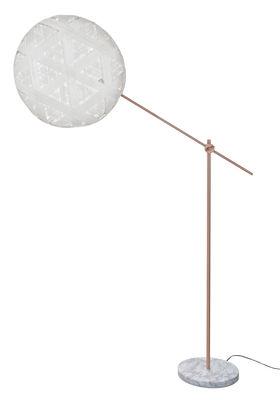 Lampadaire Chanpen Hexagon / Ø 52 cm - Motifs triangles - Forestier blanc en tissu/pierre