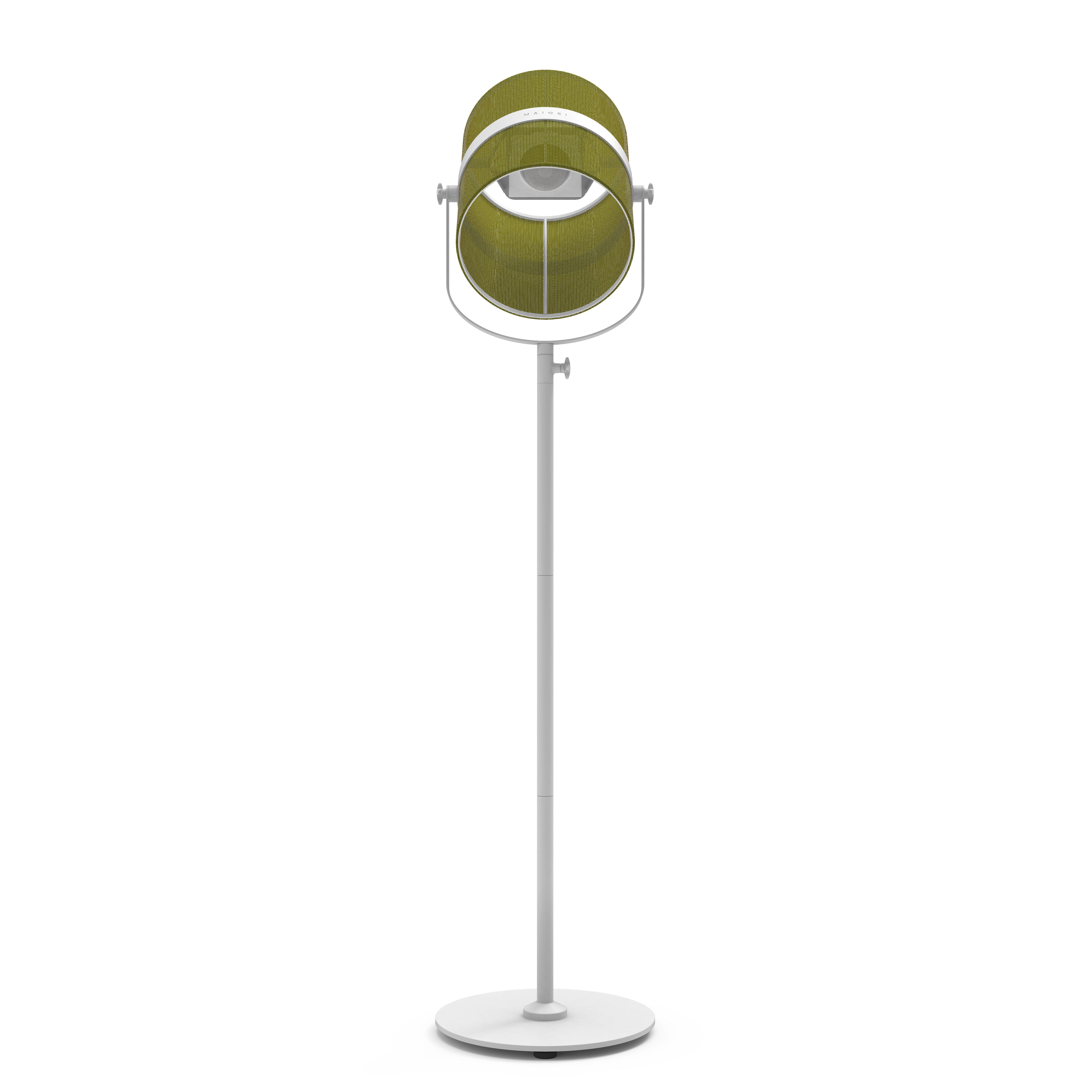 Luminaire - Lampadaires - Lampadaire solaire La Lampe Paris LED / Hybride & connectée - Maiori - Kaki / Pied blanc - Aluminium peint, Tissu