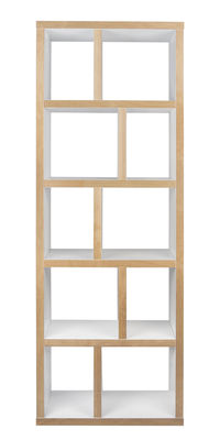 Arredamento - Scaffali e librerie - Libreria Rotterdam / L 70 x H 198 cm - POP UP HOME - Bianco / Sezioni: legno - Compensato di rovere