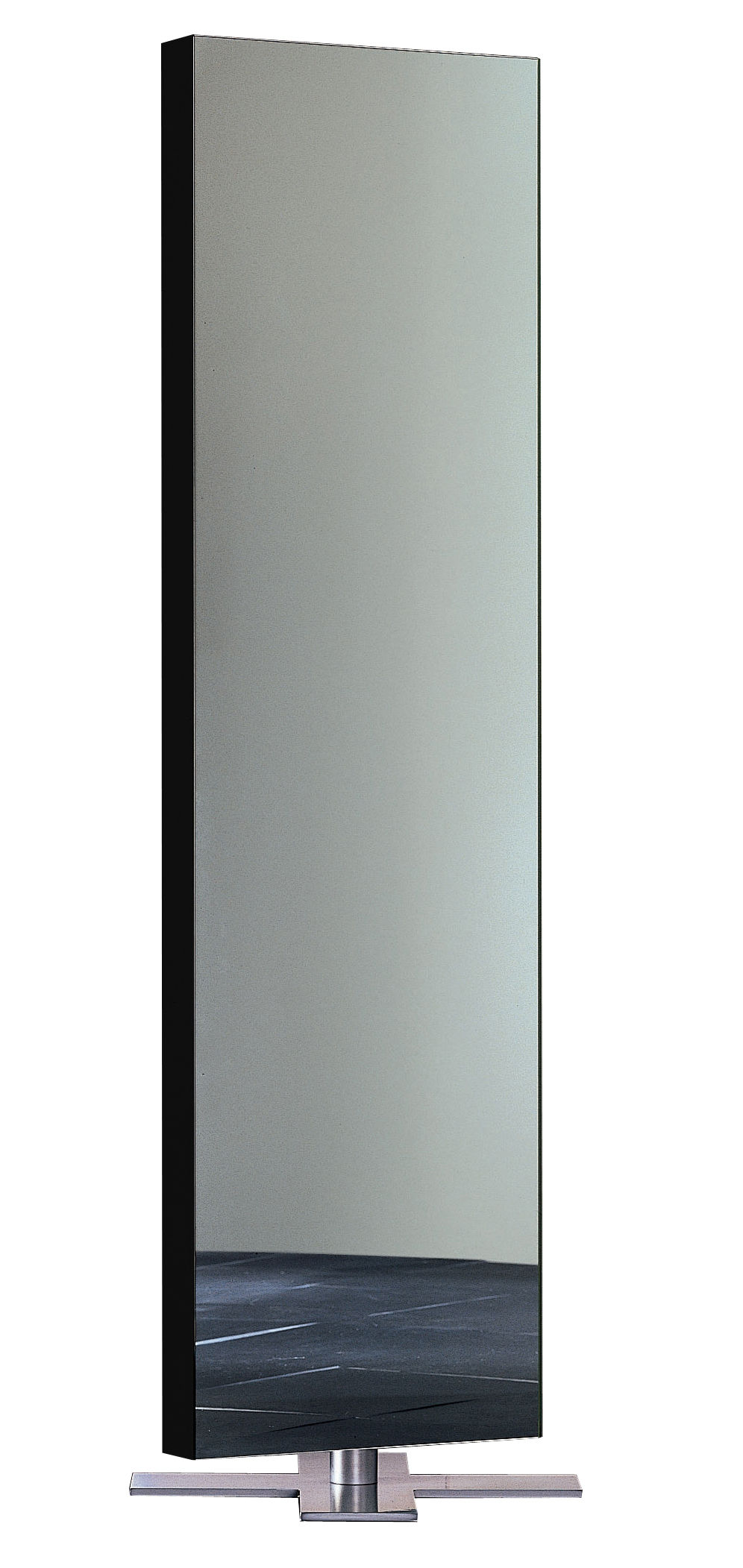 Furniture - Mirrors - Giano Mirror with base - Floor version by Glas Italia - Lacquered white - Glass, Satin metal