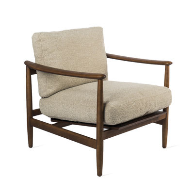 Furniture - Armchairs - Todd Padded armchair - / Terrycloth & wood by Pols Potten - Beige - Foam, FSC solid ashwood, Terry loop fabric