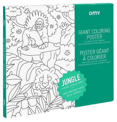 Poster à colorier Jungle / 100 x 70 cm - OMY Design & Play blanc/noir en papier