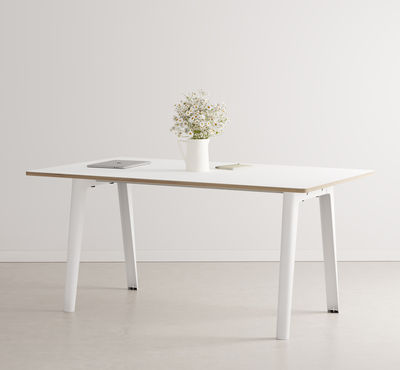 Furniture - Dining Tables - New Modern Rectangular table - / 160 x 95 cm - Laminate / 6 to 8 people by TIPTOE - Cloud White - Powder coated steel, Stratified