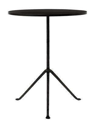 Outdoor - Tische - Officina Outdoor Runder Tisch / Ø 55 cm - Tischplatte aus Stahl - Magis - Stahl schwarz / Tischbeine schwarz - Eisen, Stahl
