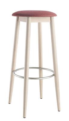 Arredamento - Sgabelli da bar  - Sgabello da bar Oto / H 75 cm - Seduta imbottita e gambe legno - Ondarreta - Rosa / Base Nude - Faggio tinto, Tessuto