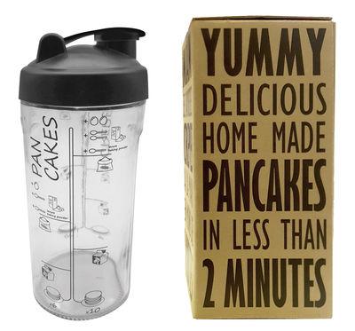 Shaker Miam / Pour crêpes et pancakes en 2 minutes - Cookut noir,transparent en verre