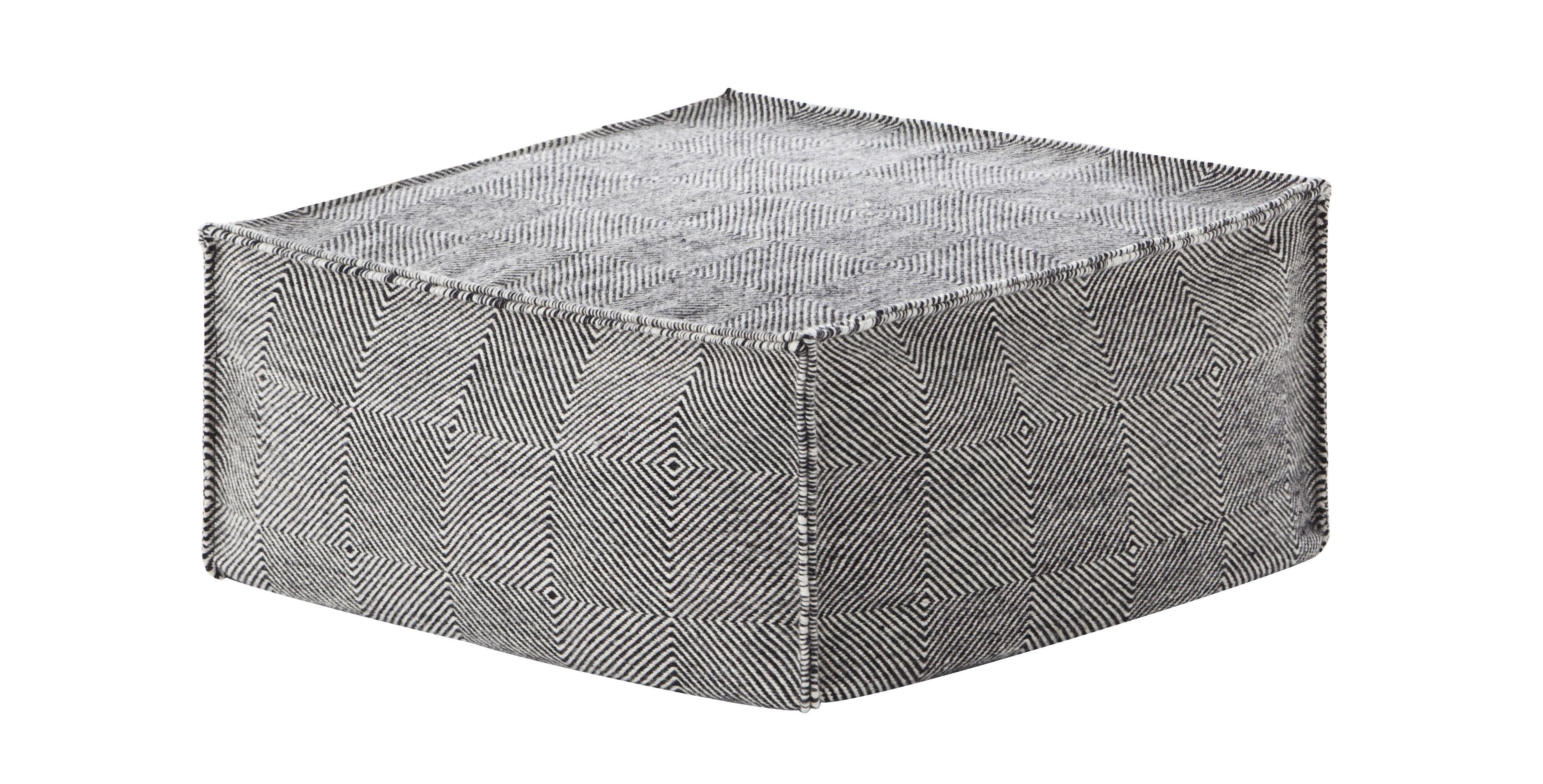Möbel - Sitzkissen - Sail Sitzkissen / quadratisch, 75 x 75 cm - Gan - Schwarz - Billes de polystyrène, Laine vierge, Mousse caoutchouc