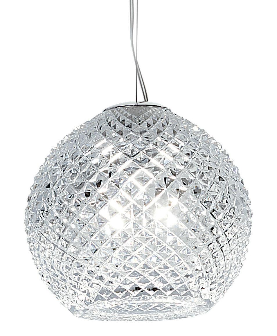 Illuminazione - Lampadari - Sospensione Diamond Swirl - Ø 18 cm di Fabbian - Trasparente - Ø 18 cm - Vetro