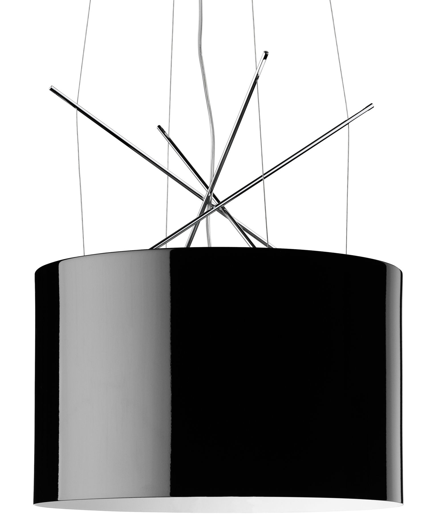 Illuminazione - Lampadari - Sospensione Ray S di Flos - Metallo nero - Acciaio cromato, Alluminio laccato