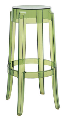 Furniture - Bar Stools - Charles Ghost Stackable bar stool - H 75 cm - Plastic by Kartell - Green - Polycarbonate