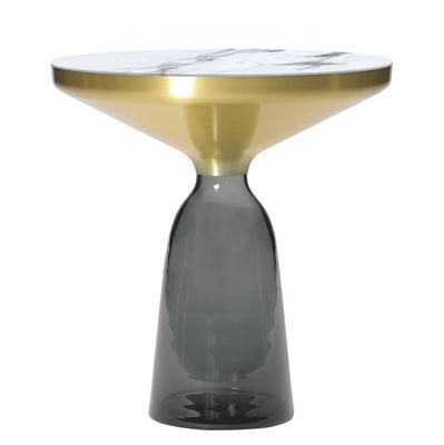 Mobilier - Tables basses - Table d'appoint Bell Side / Ø 50 x H 53 cm - Plateau marbre - ClassiCon - Marbre blanc / Gris Quartz / laiton - Laiton massif, Marbre, Verre soufflé