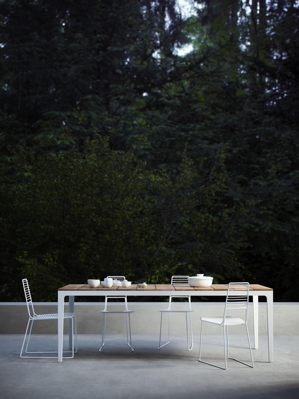Table de jardin Alplus / Bois & métal - 90 x 180 cm Blanc / Plateau ...