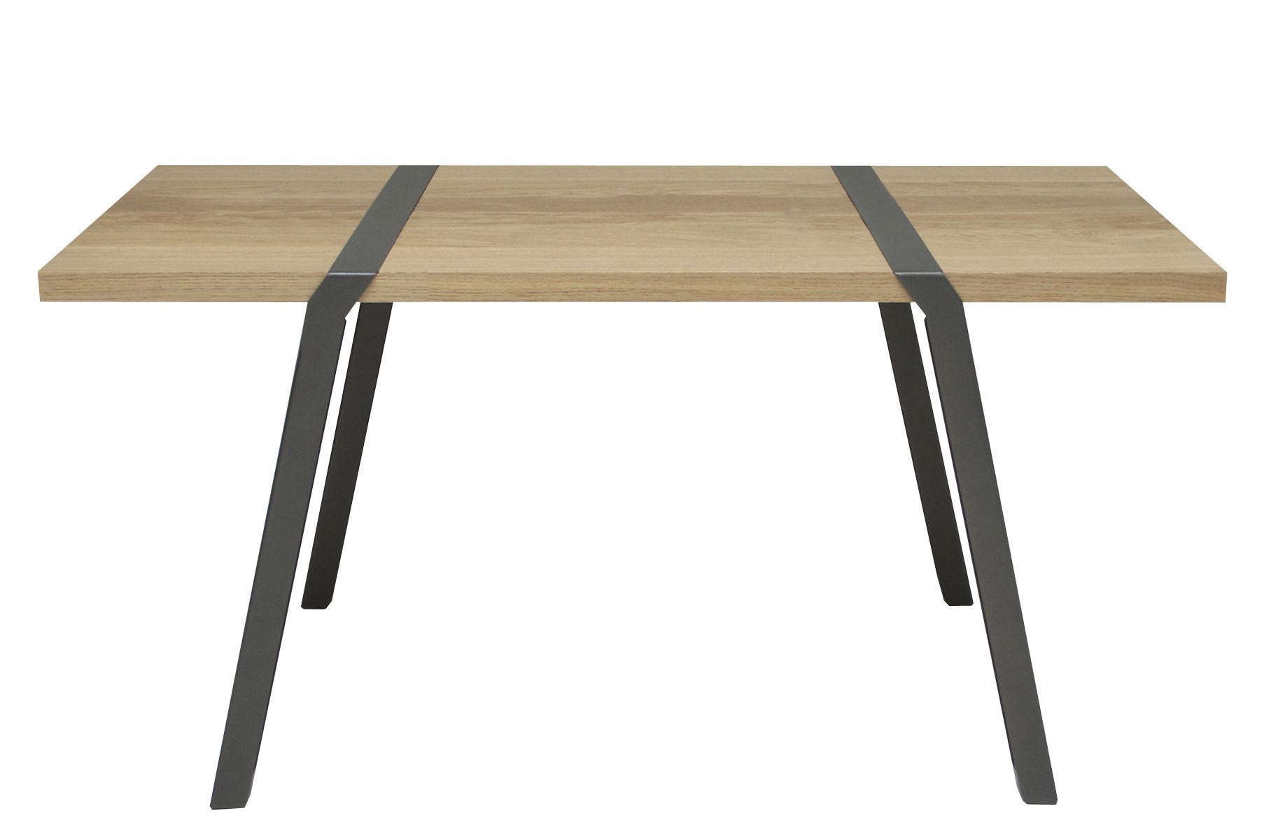 Mobilier - Bureaux - Table Pi / Bureau - 150 x 75 cm - Moaroom - Gris Canon de fusil - L 150 cm - Acier peint, Chêne massif