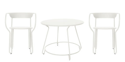 Outdoor - Garden Tables - Huggy Table & seats set - / Table Ø 100 cm + 2 armchairs by Maiori - White - Painted aluminium