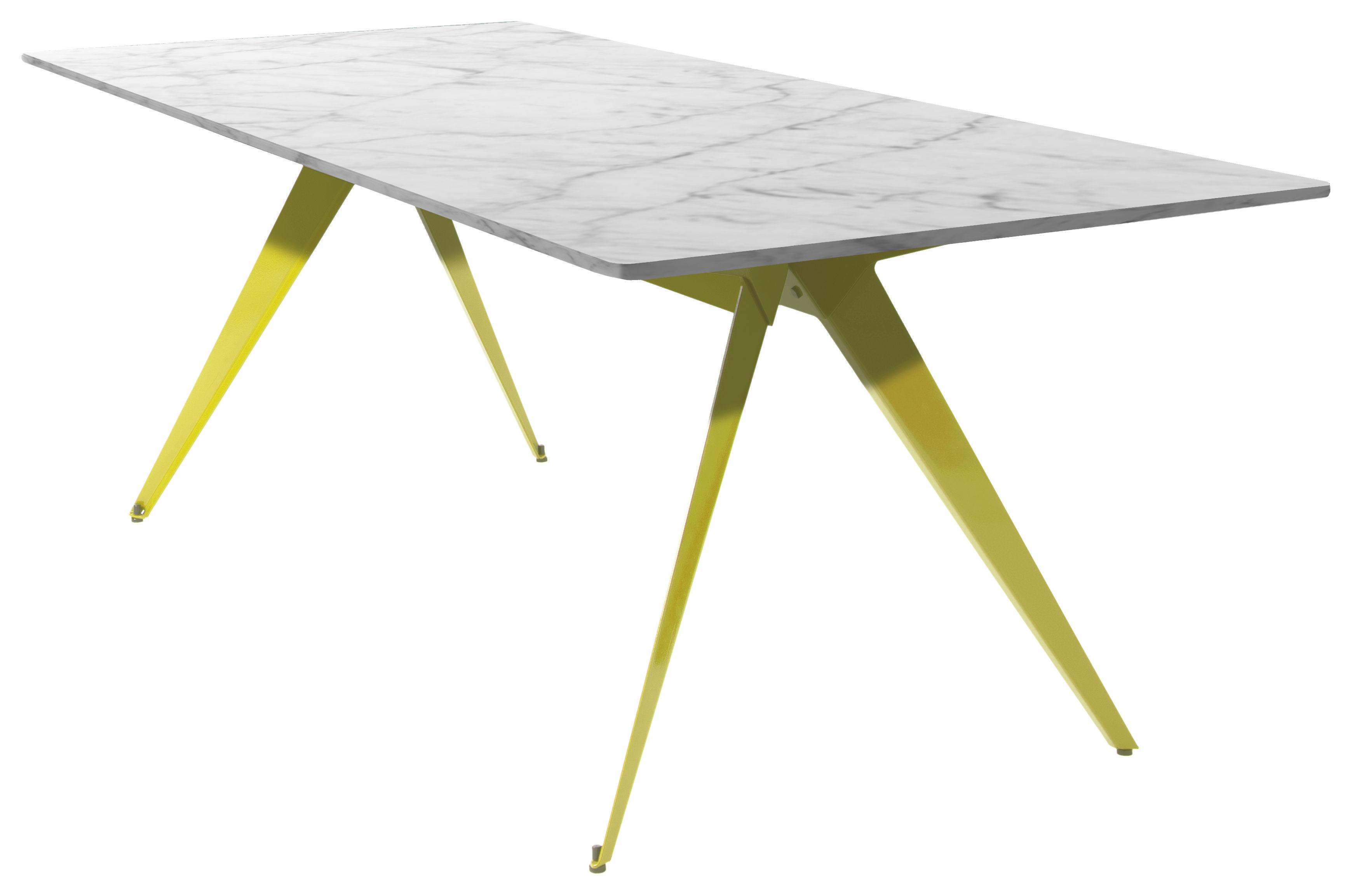 Table Stern Marbre 220 X 90 Cm Pied Jaune Souffre Plateau