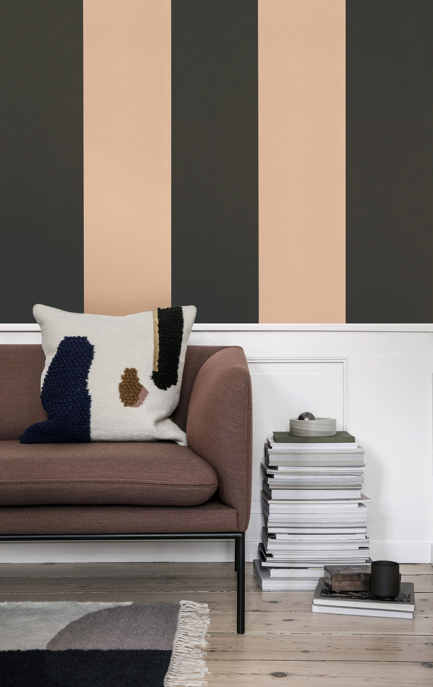 thick lines tapete 1 bahn b 53 cm khaki rosa by ferm living made in design. Black Bedroom Furniture Sets. Home Design Ideas