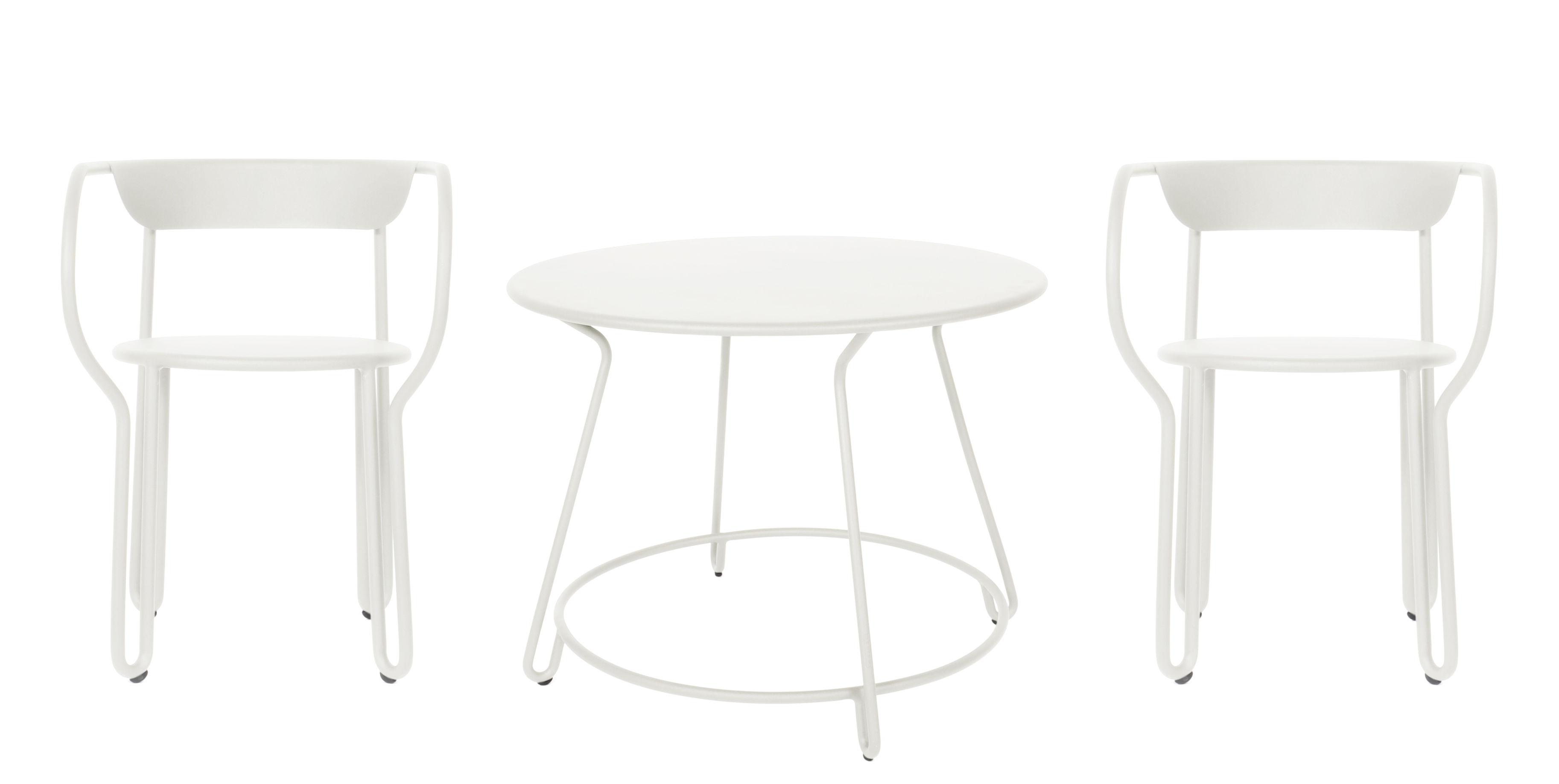 Outdoor - Tische - Huggy Tisch und Sitzgarnitur / Tisch Ø 100 cm + 2 Sessel - Maiori - Weiß - bemaltes Aluminium