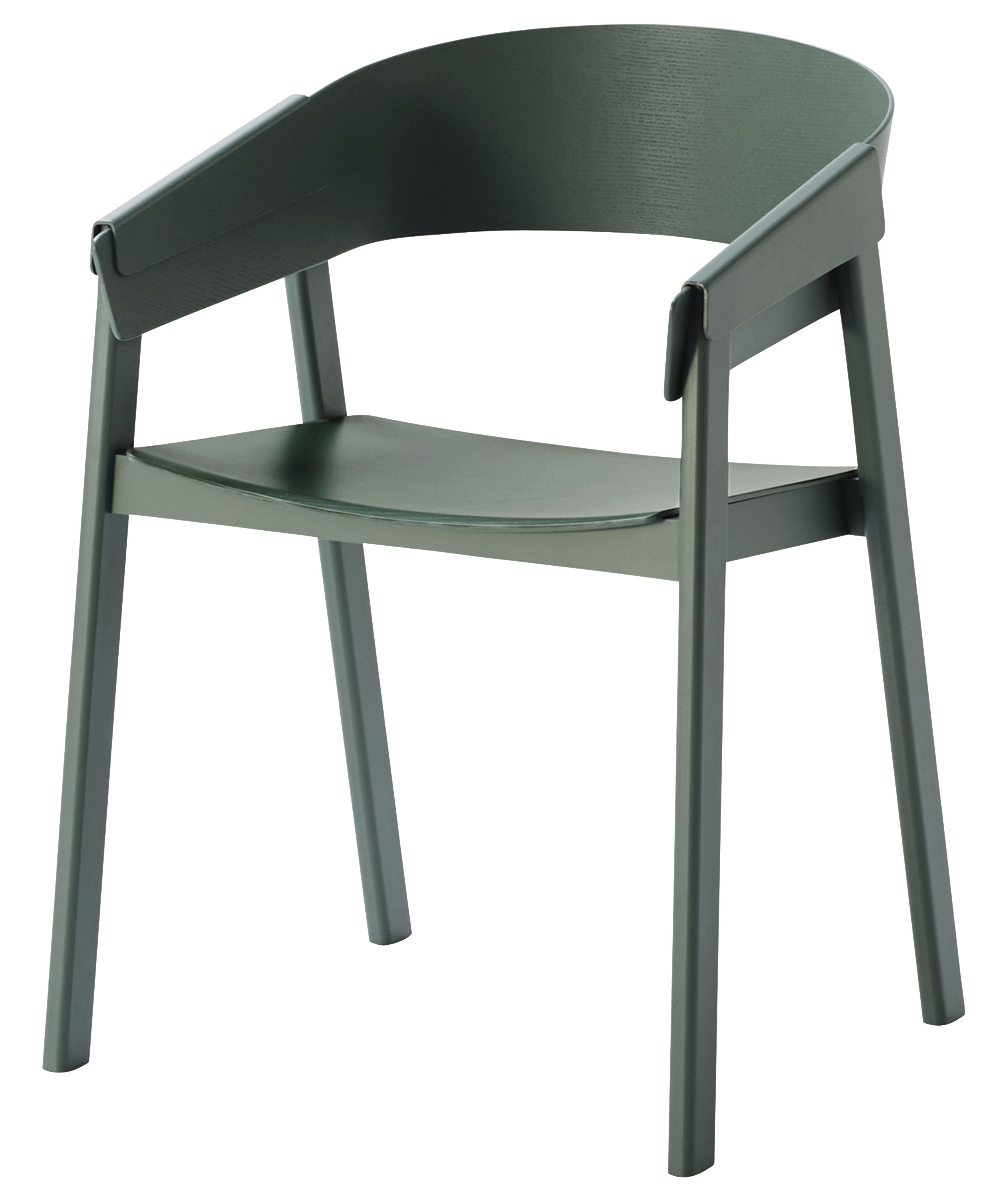 Furniture - Chairs - Cover Armchair - Wood by Muuto - Green - Lacquered ash