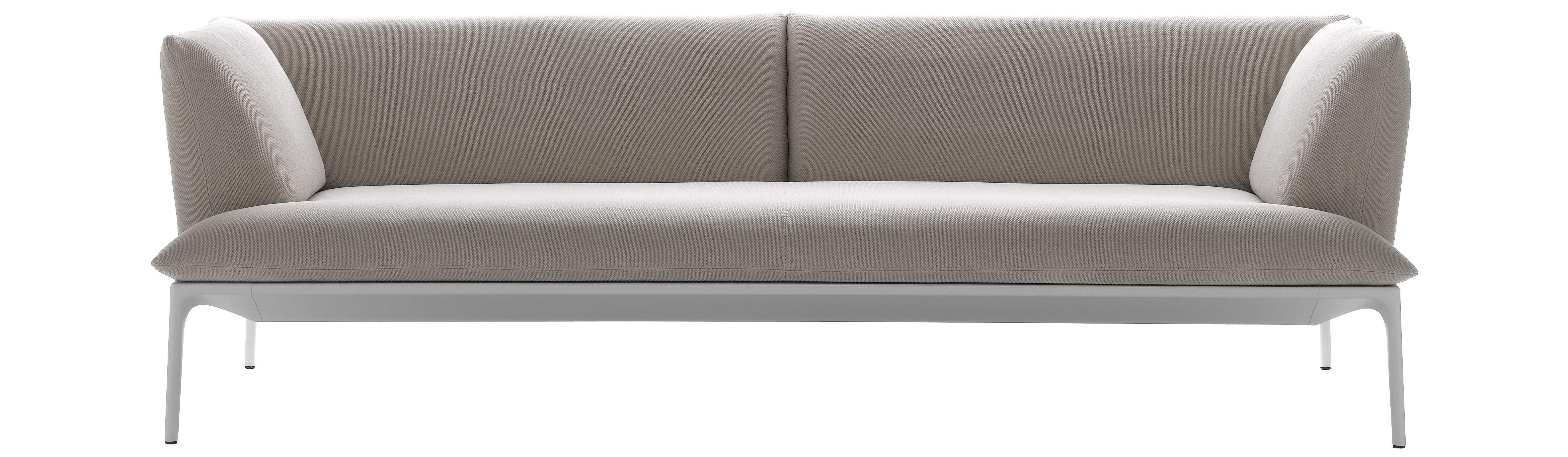 Mobilier - Canapés - Canapé droit Yale / 2 places - L 160 cm - MDF Italia - Beige / Structure blanche - 2 places - Aluminium, Tissu