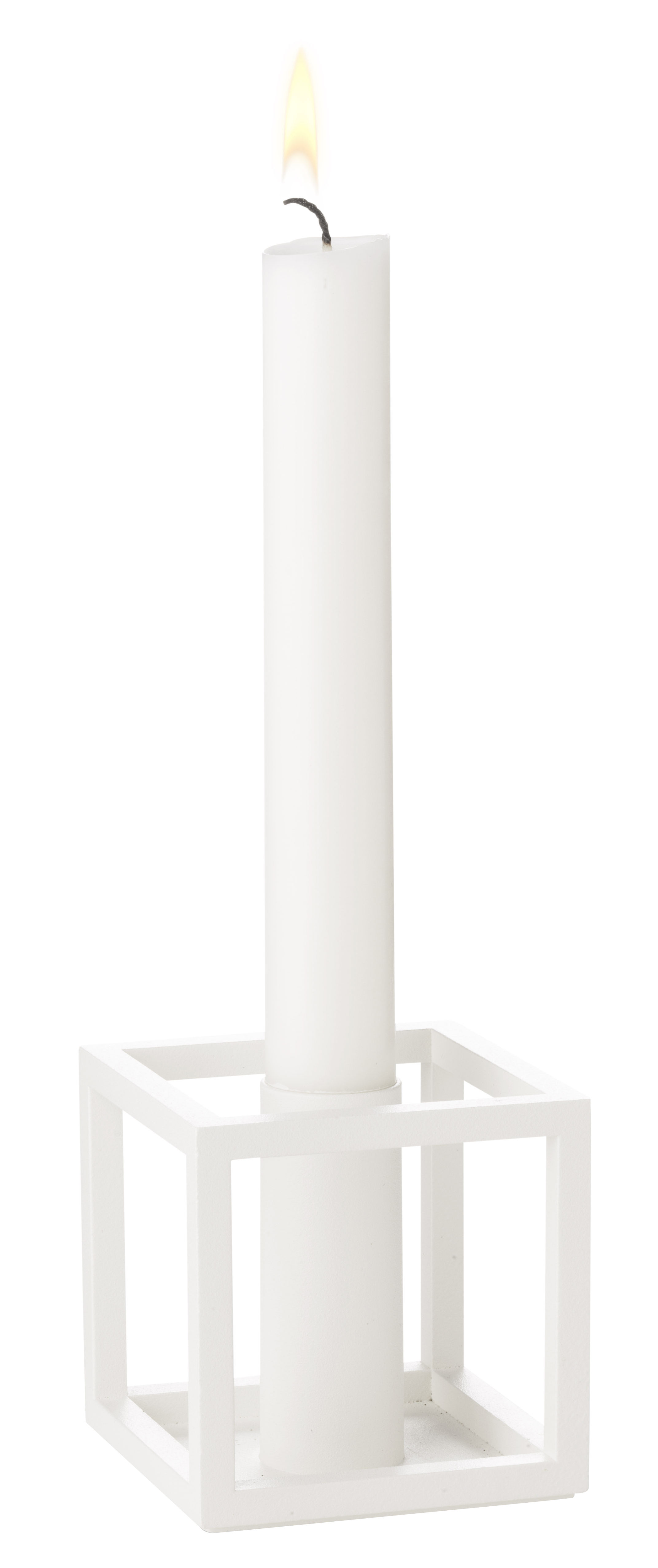 Decoration - Candles & Candle Holders - Kubus 1 Candle stick - Reissue 1962 by by Lassen - White - Lacquered steel