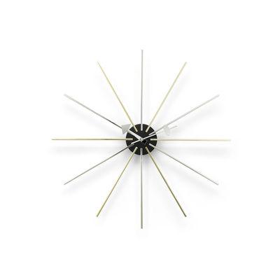 Decoration - Wall Clocks - Star Clock Clock - / By George Nelson, 1948-1960 / Ø 61 cm by Vitra - Chrome, brass & black - Metal