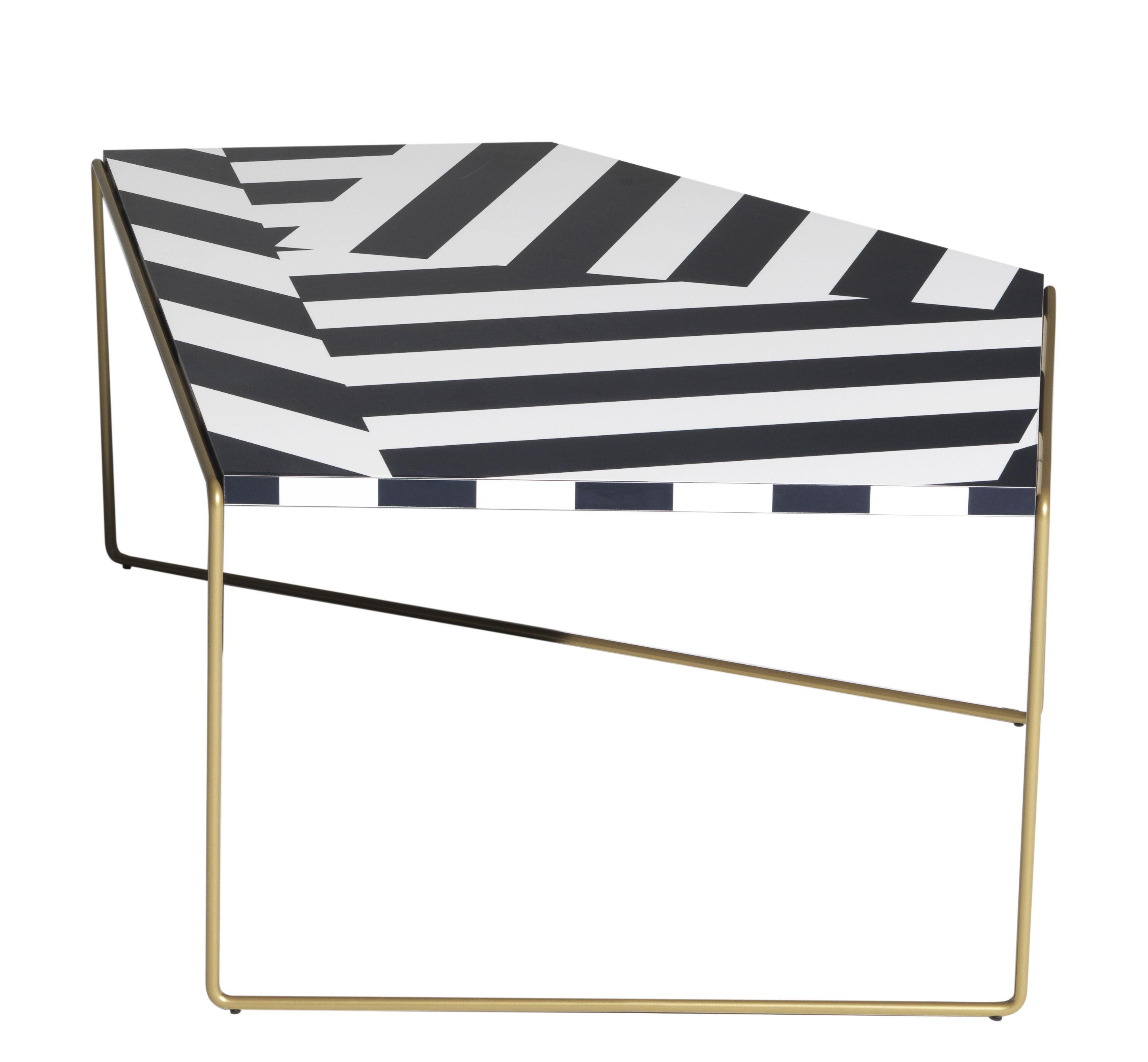 Furniture - Coffee Tables - Zagazig Coffee table - / 87 x 113 cm x H 47 cm by Driade - Black stripes - HPL, Steel