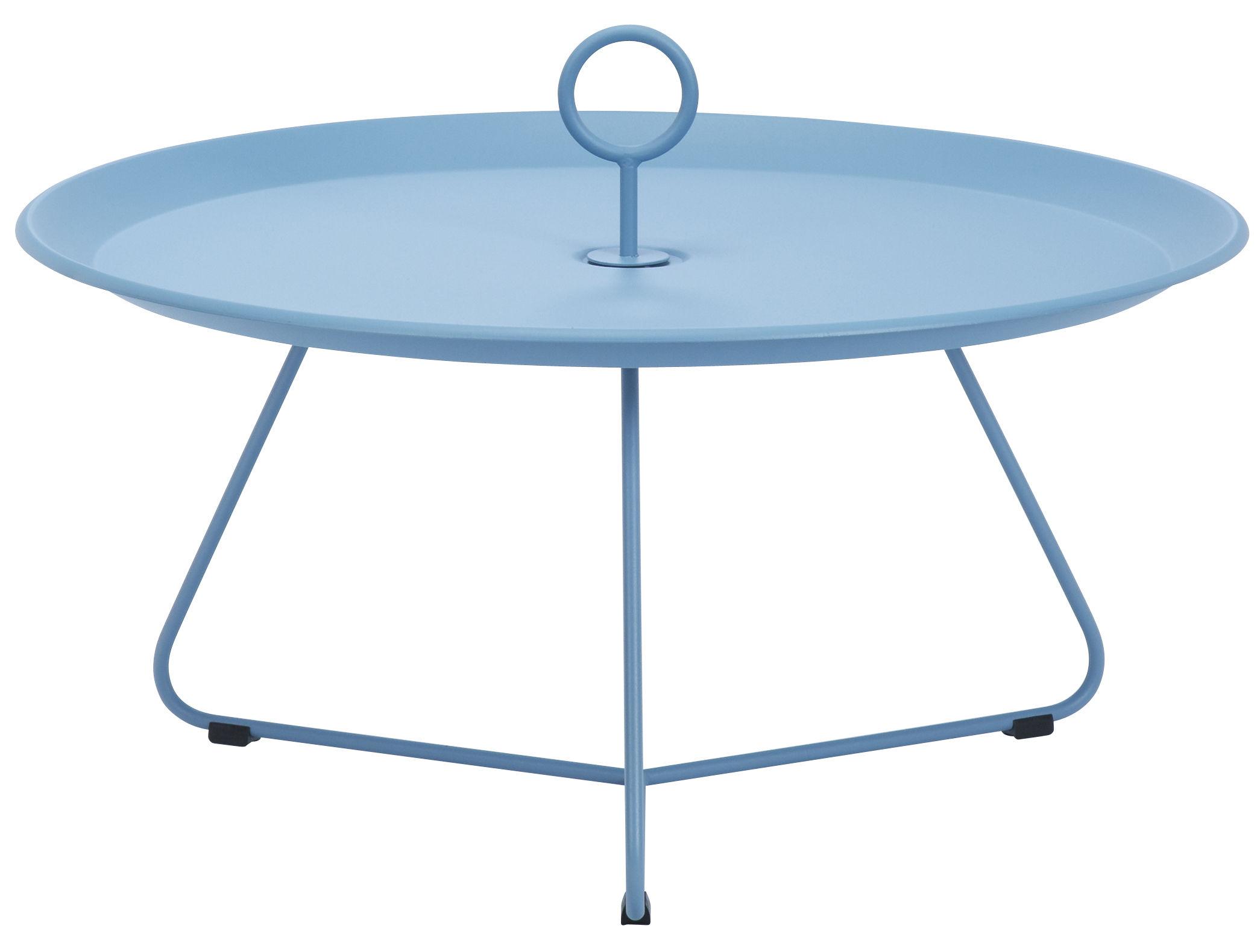 Möbel - Couchtische - Eyelet Large Couchtisch / Ø 80 cm x H 35 cm - Houe - Pastellblau - epoxy-beschichtetes Metall