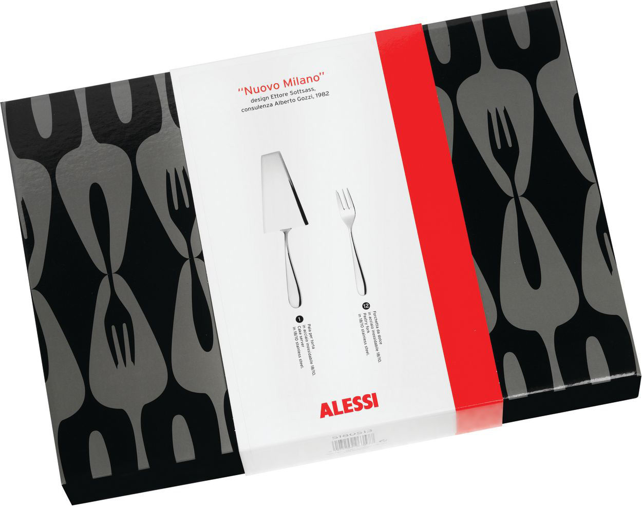 Tableware - Cutlery - Nuovo Milano Cutlery set - Dessert set (13 pieces) by Alessi - Mirror polished steel - Polished stainless steel