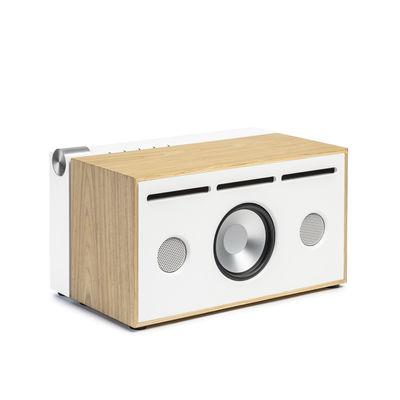 Natale Design - I must have - Diffusore bluetooth PR 01 - / Con tecnologia Active Pression Reflex di La Boîte Concept - Bianco & rovere - Alluminio, Rovere massello, Tessuto